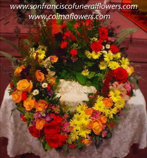 Autumn Memories Urn Wreath San Francisco Funeral Flowers Colma Funeral Florist Funeral Flower Arrangements Chinese Funeral
