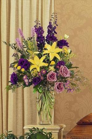 Purple yellow glass vase san francisco funeral flowers colma purple yellow glass vase funeral flowers sympathy flowers funeral flower arrangements from san mightylinksfo Gallery