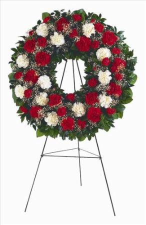 Red Amp White Carnation Wreath San Francisco Funeral