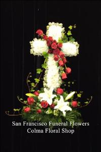 Loving Thoughts Cross on Cluster Funeral Flowers, Sympathy Flowers, Funeral Flower Arrangements from San Francisco Funeral Flowers.com Search for chinese funeral, sympathy funeral flower arrangements from our SanFranciscoFuneralFlowers.com website. Our funeral and sympathy arrangements include crosses, casket covers, hearts, wreaths on wood easels, coronas fúnebres, arreglos fúnebres, cruces para velorio, coronas para difunto, arreglos fúnebres, Florerias, Floreria, arreglos florales, corona funebre, coronas