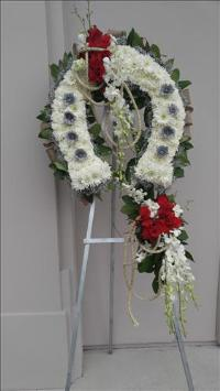 White and silver  horsehoe Funeral Flowers, Sympathy Flowers, Funeral Flower Arrangements from San Francisco Funeral Flowers.com Search for chinese funeral, sympathy funeral flower arrangements from our SanFranciscoFuneralFlowers.com website. Our funeral and sympathy arrangements include crosses, casket covers, hearts, wreaths on wood easels, coronas fúnebres, arreglos fúnebres, cruces para velorio, coronas para difunto, arreglos fúnebres, Florerias, Floreria, arreglos florales, corona funebre, coronas