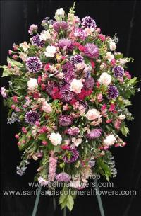 Jewel hues standing spray Funeral Flowers, Sympathy Flowers, Funeral Flower Arrangements from San Francisco Funeral Flowers.com Search for chinese funeral, sympathy funeral flower arrangements from our SanFranciscoFuneralFlowers.com website. Our funeral and sympathy arrangements include crosses, casket covers, hearts, wreaths on wood easels, coronas fúnebres, arreglos fúnebres, cruces para velorio, coronas para difunto, arreglos fúnebres, Florerias, Floreria, arreglos florales, corona funebre, coronas