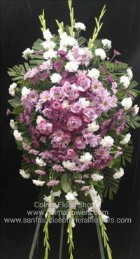 Purple and White Standing Spray Funeral Flowers, Sympathy Flowers, Funeral Flower Arrangements from San Francisco Funeral Flowers.com Search for chinese funeral, sympathy funeral flower arrangements from our SanFranciscoFuneralFlowers.com website. Our funeral and sympathy arrangements include crosses, casket covers, hearts, wreaths on wood easels, coronas fúnebres, arreglos fúnebres, cruces para velorio, coronas para difunto, arreglos fúnebres, Florerias, Floreria, arreglos florales, corona funebre, coronas