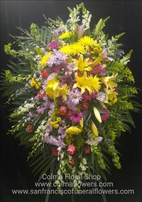 brights sunshine standing spray Funeral Flowers, Sympathy Flowers, Funeral Flower Arrangements from San Francisco Funeral Flowers.com Search for chinese funeral, sympathy funeral flower arrangements from our SanFranciscoFuneralFlowers.com website. Our funeral and sympathy arrangements include crosses, casket covers, hearts, wreaths on wood easels, coronas fúnebres, arreglos fúnebres, cruces para velorio, coronas para difunto, arreglos fúnebres, Florerias, Floreria, arreglos florales, corona funebre, coronas