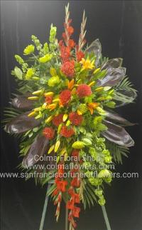 Sunrise standing spray Funeral Flowers, Sympathy Flowers, Funeral Flower Arrangements from San Francisco Funeral Flowers.com Search for chinese funeral, sympathy funeral flower arrangements from our SanFranciscoFuneralFlowers.com website. Our funeral and sympathy arrangements include crosses, casket covers, hearts, wreaths on wood easels, coronas fúnebres, arreglos fúnebres, cruces para velorio, coronas para difunto, arreglos fúnebres, Florerias, Floreria, arreglos florales, corona funebre, coronas