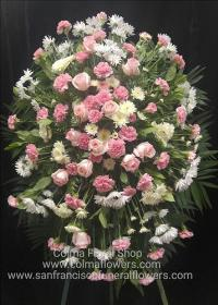 Blush and white standing spray Funeral Flowers, Sympathy Flowers, Funeral Flower Arrangements from San Francisco Funeral Flowers.com Search for chinese funeral, sympathy funeral flower arrangements from our SanFranciscoFuneralFlowers.com website. Our funeral and sympathy arrangements include crosses, casket covers, hearts, wreaths on wood easels, coronas fúnebres, arreglos fúnebres, cruces para velorio, coronas para difunto, arreglos fúnebres, Florerias, Floreria, arreglos florales, corona funebre, coronas