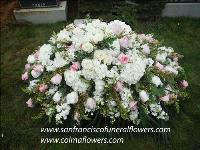 Blush and white casket spray Funeral Flowers, Sympathy Flowers, Funeral Flower Arrangements from San Francisco Funeral Flowers.com Search for chinese funeral, sympathy funeral flower arrangements from our SanFranciscoFuneralFlowers.com website. Our funeral and sympathy arrangements include crosses, casket covers, hearts, wreaths on wood easels, coronas fúnebres, arreglos fúnebres, cruces para velorio, coronas para difunto, arreglos fúnebres, Florerias, Floreria, arreglos florales, corona funebre, coronas