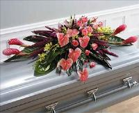 Casket Tropical Spray (CF051-11) Funeral Flowers, Sympathy Flowers, Funeral Flower Arrangements from San Francisco Funeral Flowers.com Search for chinese funeral, sympathy funeral flower arrangements from our SanFranciscoFuneralFlowers.com website. Our funeral and sympathy arrangements include crosses, casket covers, hearts, wreaths on wood easels, coronas fúnebres, arreglos fúnebres, cruces para velorio, coronas para difunto, arreglos fúnebres, Florerias, Floreria, arreglos florales, corona funebre, coronas