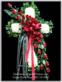 Cross White Carnations Red Roses Funeral Flowers, Sympathy Flowers, Funeral Flower Arrangements from San Francisco Funeral Flowers.com Search for chinese funeral, sympathy funeral flower arrangements from our SanFranciscoFuneralFlowers.com website. Our funeral and sympathy arrangements include crosses, casket covers, hearts, wreaths on wood easels, coronas fúnebres, arreglos fúnebres, cruces para velorio, coronas para difunto, arreglos fúnebres, Florerias, Floreria, arreglos florales, corona funebre, coronas