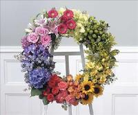 Natures Rainbow Wreath (CF139-21) Funeral Flowers, Sympathy Flowers, Funeral Flower Arrangements from San Francisco Funeral Flowers.com Search for chinese funeral, sympathy funeral flower arrangements from our SanFranciscoFuneralFlowers.com website. Our funeral and sympathy arrangements include crosses, casket covers, hearts, wreaths on wood easels, coronas fúnebres, arreglos fúnebres, cruces para velorio, coronas para difunto, arreglos fúnebres, Florerias, Floreria, arreglos florales, corona funebre, coronas