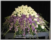 Casket Spray, Purple Orchids, White South American Roses, Funeral Flowers, Sympathy Flowers, Funeral Flower Arrangements from San Francisco Funeral Flowers.com Search for chinese funeral, sympathy funeral flower arrangements from our SanFranciscoFuneralFlowers.com website. Our funeral and sympathy arrangements include crosses, casket covers, hearts, wreaths on wood easels, coronas fúnebres, arreglos fúnebres, cruces para velorio, coronas para difunto, arreglos fúnebres, Florerias, Floreria, arreglos florales, corona funebre, coronas
