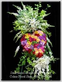 Custom Heart Floral Spray, Rainbow Flowers, Orchids, Funeral Flowers, Sympathy Flowers, Funeral Flower Arrangements from San Francisco Funeral Flowers.com Search for chinese funeral, sympathy funeral flower arrangements from our SanFranciscoFuneralFlowers.com website. Our funeral and sympathy arrangements include crosses, casket covers, hearts, wreaths on wood easels, coronas fúnebres, arreglos fúnebres, cruces para velorio, coronas para difunto, arreglos fúnebres, Florerias, Floreria, arreglos florales, corona funebre, coronas