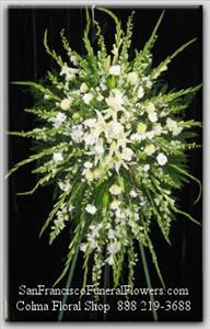 White Floral Elegance Spray Funeral Flowers, Sympathy Flowers, Funeral Flower Arrangements from San Francisco Funeral Flowers.com Search for chinese funeral, sympathy funeral flower arrangements from our SanFranciscoFuneralFlowers.com website. Our funeral and sympathy arrangements include crosses, casket covers, hearts, wreaths on wood easels, coronas fúnebres, arreglos fúnebres, cruces para velorio, coronas para difunto, arreglos fúnebres, Florerias, Floreria, arreglos florales, corona funebre, coronas