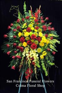 Sunset Standing Spray Funeral Flowers, Sympathy Flowers, Funeral Flower Arrangements from San Francisco Funeral Flowers.com Search for chinese funeral, sympathy funeral flower arrangements from our SanFranciscoFuneralFlowers.com website. Our funeral and sympathy arrangements include crosses, casket covers, hearts, wreaths on wood easels, coronas fúnebres, arreglos fúnebres, cruces para velorio, coronas para difunto, arreglos fúnebres, Florerias, Floreria, arreglos florales, corona funebre, coronas