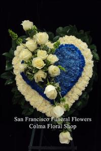 Blue and White Heart Funeral Flowers, Sympathy Flowers, Funeral Flower Arrangements from San Francisco Funeral Flowers.com Search for chinese funeral, sympathy funeral flower arrangements from our SanFranciscoFuneralFlowers.com website. Our funeral and sympathy arrangements include crosses, casket covers, hearts, wreaths on wood easels, coronas fúnebres, arreglos fúnebres, cruces para velorio, coronas para difunto, arreglos fúnebres, Florerias, Floreria, arreglos florales, corona funebre, coronas