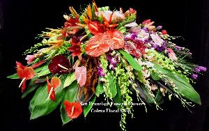 Exotic Assortment Casket Spray Funeral Flowers, Sympathy Flowers, Funeral Flower Arrangements from San Francisco Funeral Flowers.com Search for chinese funeral, sympathy funeral flower arrangements from our SanFranciscoFuneralFlowers.com website. Our funeral and sympathy arrangements include crosses, casket covers, hearts, wreaths on wood easels, coronas fúnebres, arreglos fúnebres, cruces para velorio, coronas para difunto, arreglos fúnebres, Florerias, Floreria, arreglos florales, corona funebre, coronas