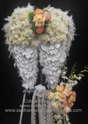 angel wings, floral wings, angel wings, angel funeral flower wings Funeral Flowers, Sympathy Flowers, Funeral Flower Arrangements from San Francisco Funeral Flowers.com Search for chinese funeral, sympathy funeral flower arrangements from our SanFranciscoFuneralFlowers.com website. Our funeral and sympathy arrangements include crosses, casket covers, hearts, wreaths on wood easels, coronas fúnebres, arreglos fúnebres, cruces para velorio, coronas para difunto, arreglos fúnebres, Florerias, Floreria, arreglos florales, corona funebre, coronas