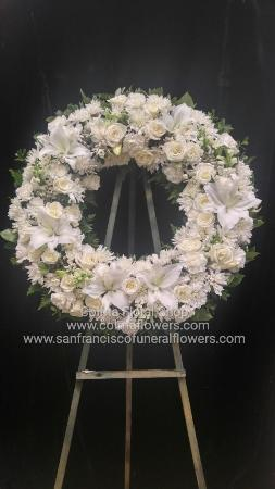 Peace and comfort wreath Funeral Flowers, Sympathy Flowers, Funeral Flower Arrangements from San Francisco Funeral Flowers.com Search for chinese funeral, sympathy funeral flower arrangements from our SanFranciscoFuneralFlowers.com website. Our funeral and sympathy arrangements include crosses, casket covers, hearts, wreaths on wood easels, coronas fúnebres, arreglos fúnebres, cruces para velorio, coronas para difunto, arreglos fúnebres, Florerias, Floreria, arreglos florales, corona funebre, coronas