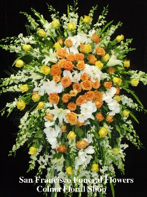 Elegant Sunrise Spray Funeral Flowers, Sympathy Flowers, Funeral Flower Arrangements from San Francisco Funeral Flowers.com Search for chinese funeral, sympathy funeral flower arrangements from our SanFranciscoFuneralFlowers.com website. Our funeral and sympathy arrangements include crosses, casket covers, hearts, wreaths on wood easels, coronas fúnebres, arreglos fúnebres, cruces para velorio, coronas para difunto, arreglos fúnebres, Florerias, Floreria, arreglos florales, corona funebre, coronas