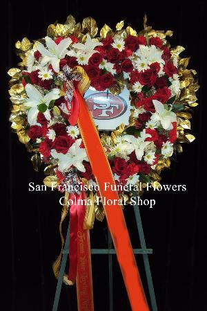 49ers heart Funeral Flowers, Sympathy Flowers, Funeral Flower Arrangements from San Francisco Funeral Flowers.com Search for chinese funeral, sympathy funeral flower arrangements from our SanFranciscoFuneralFlowers.com website. Our funeral and sympathy arrangements include crosses, casket covers, hearts, wreaths on wood easels, coronas fúnebres, arreglos fúnebres, cruces para velorio, coronas para difunto, arreglos fúnebres, Florerias, Floreria, arreglos florales, corona funebre, coronas