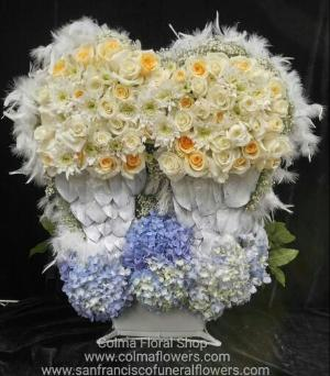 Angel Wings Basket Funeral Flowers, Sympathy Flowers, Funeral Flower Arrangements from San Francisco Funeral Flowers.com Search for chinese funeral, sympathy funeral flower arrangements from our SanFranciscoFuneralFlowers.com website. Our funeral and sympathy arrangements include crosses, casket covers, hearts, wreaths on wood easels, coronas fúnebres, arreglos fúnebres, cruces para velorio, coronas para difunto, arreglos fúnebres, Florerias, Floreria, arreglos florales, corona funebre, coronas