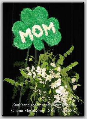 Green Carnation Shamrock MOM Floral Spray, Funeral Flowers, Sympathy Flowers, Funeral Flower Arrangements from San Francisco Funeral Flowers.com Search for chinese funeral, sympathy funeral flower arrangements from our SanFranciscoFuneralFlowers.com website. Our funeral and sympathy arrangements include crosses, casket covers, hearts, wreaths on wood easels, coronas fúnebres, arreglos fúnebres, cruces para velorio, coronas para difunto, arreglos fúnebres, Florerias, Floreria, arreglos florales, corona funebre, coronas