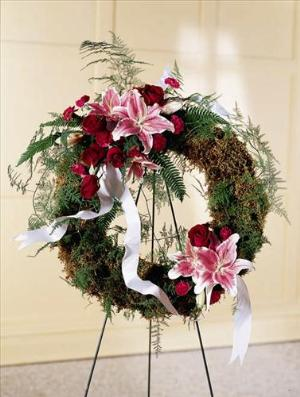 Lily & Rose Wreath Funeral Flowers, Sympathy Flowers, Funeral Flower Arrangements from San Francisco Funeral Flowers.com Search for chinese funeral, sympathy funeral flower arrangements from our SanFranciscoFuneralFlowers.com website. Our funeral and sympathy arrangements include crosses, casket covers, hearts, wreaths on wood easels, coronas fúnebres, arreglos fúnebres, cruces para velorio, coronas para difunto, arreglos fúnebres, Florerias, Floreria, arreglos florales, corona funebre, coronas