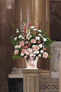 White & Pink Arrangement Funeral Flowers, Sympathy Flowers, Funeral Flower Arrangements from San Francisco Funeral Flowers.com Search for chinese funeral, sympathy funeral flower arrangements from our SanFranciscoFuneralFlowers.com website. Our funeral and sympathy arrangements include crosses, casket covers, hearts, wreaths on wood easels, coronas fúnebres, arreglos fúnebres, cruces para velorio, coronas para difunto, arreglos fúnebres, Florerias, Floreria, arreglos florales, corona funebre, coronas