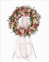 Mixed Pink Wreath Funeral Flowers, Sympathy Flowers, Funeral Flower Arrangements from San Francisco Funeral Flowers.com Search for chinese funeral, sympathy funeral flower arrangements from our SanFranciscoFuneralFlowers.com website. Our funeral and sympathy arrangements include crosses, casket covers, hearts, wreaths on wood easels, coronas fúnebres, arreglos fúnebres, cruces para velorio, coronas para difunto, arreglos fúnebres, Florerias, Floreria, arreglos florales, corona funebre, coronas