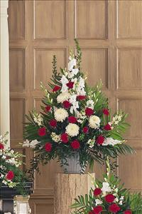 Red & White Arrangement Funeral Flowers, Sympathy Flowers, Funeral Flower Arrangements from San Francisco Funeral Flowers.com Search for chinese funeral, sympathy funeral flower arrangements from our SanFranciscoFuneralFlowers.com website. Our funeral and sympathy arrangements include crosses, casket covers, hearts, wreaths on wood easels, coronas fúnebres, arreglos fúnebres, cruces para velorio, coronas para difunto, arreglos fúnebres, Florerias, Floreria, arreglos florales, corona funebre, coronas
