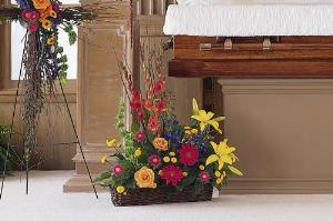 Basket with Summer Flowers Funeral Flowers, Sympathy Flowers, Funeral Flower Arrangements from San Francisco Funeral Flowers.com Search for chinese funeral, sympathy funeral flower arrangements from our SanFranciscoFuneralFlowers.com website. Our funeral and sympathy arrangements include crosses, casket covers, hearts, wreaths on wood easels, coronas fúnebres, arreglos fúnebres, cruces para velorio, coronas para difunto, arreglos fúnebres, Florerias, Floreria, arreglos florales, corona funebre, coronas