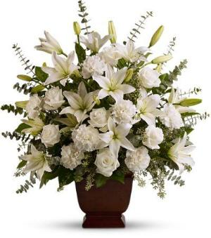 Teleflora's Sincere Serenity Funeral Flowers, Sympathy Flowers, Funeral Flower Arrangements from San Francisco Funeral Flowers.com Search for chinese funeral, sympathy funeral flower arrangements from our SanFranciscoFuneralFlowers.com website. Our funeral and sympathy arrangements include crosses, casket covers, hearts, wreaths on wood easels, coronas fúnebres, arreglos fúnebres, cruces para velorio, coronas para difunto, arreglos fúnebres, Florerias, Floreria, arreglos florales, corona funebre, coronas