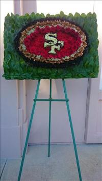 Forty Niners floral Logo Funeral Flowers, Sympathy Flowers, Funeral Flower Arrangements from San Francisco Funeral Flowers.com Search for chinese funeral, sympathy funeral flower arrangements from our SanFranciscoFuneralFlowers.com website. Our funeral and sympathy arrangements include crosses, casket covers, hearts, wreaths on wood easels, coronas fúnebres, arreglos fúnebres, cruces para velorio, coronas para difunto, arreglos fúnebres, Florerias, Floreria, arreglos florales, corona funebre, coronas