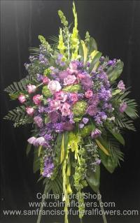 purple meadow standing spray Funeral Flowers, Sympathy Flowers, Funeral Flower Arrangements from San Francisco Funeral Flowers.com Search for chinese funeral, sympathy funeral flower arrangements from our SanFranciscoFuneralFlowers.com website. Our funeral and sympathy arrangements include crosses, casket covers, hearts, wreaths on wood easels, coronas fúnebres, arreglos fúnebres, cruces para velorio, coronas para difunto, arreglos fúnebres, Florerias, Floreria, arreglos florales, corona funebre, coronas