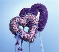 Double Heart Shades of Lavender (CF027-11) Funeral Flowers, Sympathy Flowers, Funeral Flower Arrangements from San Francisco Funeral Flowers.com Search for chinese funeral, sympathy funeral flower arrangements from our SanFranciscoFuneralFlowers.com website. Our funeral and sympathy arrangements include crosses, casket covers, hearts, wreaths on wood easels, coronas fúnebres, arreglos fúnebres, cruces para velorio, coronas para difunto, arreglos fúnebres, Florerias, Floreria, arreglos florales, corona funebre, coronas