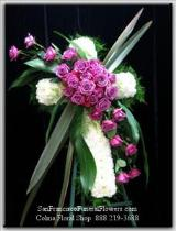 Cross White Carnation Lavendar Roses - San Francisco Funeral Flowers.com Funeral Flowers, Sympathy Flowers, Funeral Flower Arrangements from San Francisco Funeral Flowers.com Search for sympathy and funeral flower arrangement ideas from our SanFranciscoFuneralFlowers.com website. Our funeral and sympathy arrangements include crosses, casket covers, hearts, wreaths on wood easels. Open 365 days and provide delivery everyday including Sunday delivery to funeral homes from San Francisco CA to San Mateo CA. San Francisco Flowers