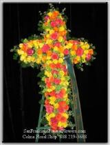 Cross Yellow and Orange Roses Funeral Flowers, Sympathy Flowers, Funeral Flower Arrangements from San Francisco Funeral Flowers.com Search for sympathy and funeral flower arrangement ideas from our SanFranciscoFuneralFlowers.com website. Our funeral and sympathy arrangements include crosses, casket covers, hearts, wreaths on wood easels. Open 365 days and provide delivery everyday including Sunday delivery to funeral homes from San Francisco CA to San Mateo CA. San Francisco Flowers