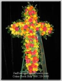 Cross Yellow and Orange Roses Funeral Flowers, Sympathy Flowers, Funeral Flower Arrangements from San Francisco Funeral Flowers.com Search for chinese funeral, sympathy funeral flower arrangements from our SanFranciscoFuneralFlowers.com website. Our funeral and sympathy arrangements include crosses, casket covers, hearts, wreaths on wood easels, coronas fúnebres, arreglos fúnebres, cruces para velorio, coronas para difunto, arreglos fúnebres, Florerias, Floreria, arreglos florales, corona funebre, coronas
