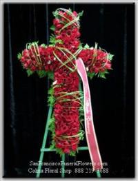 Cross Red Roses Funeral Flowers, Sympathy Flowers, Funeral Flower Arrangements from San Francisco Funeral Flowers.com Search for chinese funeral, sympathy funeral flower arrangements from our SanFranciscoFuneralFlowers.com website. Our funeral and sympathy arrangements include crosses, casket covers, hearts, wreaths on wood easels, coronas fúnebres, arreglos fúnebres, cruces para velorio, coronas para difunto, arreglos fúnebres, Florerias, Floreria, arreglos florales, corona funebre, coronas