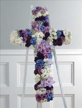 Celestial Cross (CF042-21) Funeral Flowers, Sympathy Flowers, Funeral Flower Arrangements from San Francisco Funeral Flowers.com Search for sympathy and funeral flower arrangement ideas from our SanFranciscoFuneralFlowers.com website. Our funeral and sympathy arrangements include crosses, casket covers, hearts, wreaths on wood easels. Open 365 days and provide delivery everyday including Sunday delivery to funeral homes from San Francisco CA to San Mateo CA. San Francisco Flowers
