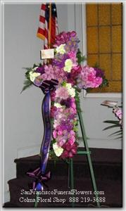 Cross Lavendar & White Flowers Funeral Flowers, Sympathy Flowers, Funeral Flower Arrangements from San Francisco Funeral Flowers.com Search for chinese funeral, sympathy funeral flower arrangements from our SanFranciscoFuneralFlowers.com website. Our funeral and sympathy arrangements include crosses, casket covers, hearts, wreaths on wood easels, coronas fúnebres, arreglos fúnebres, cruces para velorio, coronas para difunto, arreglos fúnebres, Florerias, Floreria, arreglos florales, corona funebre, coronas