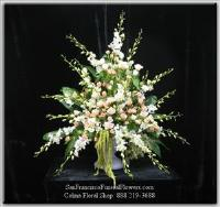 Floral Basket white orchids, white roses and pink spray roses Funeral Flowers, Sympathy Flowers, Funeral Flower Arrangements from San Francisco Funeral Flowers.com Search for chinese funeral, sympathy funeral flower arrangements from our SanFranciscoFuneralFlowers.com website. Our funeral and sympathy arrangements include crosses, casket covers, hearts, wreaths on wood easels, coronas fúnebres, arreglos fúnebres, cruces para velorio, coronas para difunto, arreglos fúnebres, Florerias, Floreria, arreglos florales, corona funebre, coronas