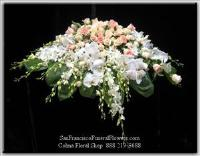 Casket Spray White Dendroniums Orchids, White phalaenopsis Orchids, Peach and Pink South American Roses Funeral Flowers, Sympathy Flowers, Funeral Flower Arrangements from San Francisco Funeral Flowers.com Search for chinese funeral, sympathy funeral flower arrangements from our SanFranciscoFuneralFlowers.com website. Our funeral and sympathy arrangements include crosses, casket covers, hearts, wreaths on wood easels, coronas fúnebres, arreglos fúnebres, cruces para velorio, coronas para difunto, arreglos fúnebres, Florerias, Floreria, arreglos florales, corona funebre, coronas
