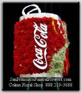 Coca Cola, Coke, Floral Spray made with red carnations, million star gyp & yellow button poms Funeral Flowers, Sympathy Flowers, Funeral Flower Arrangements from San Francisco Funeral Flowers.com Search for sympathy and funeral flower arrangement ideas from our SanFranciscoFuneralFlowers.com website. Our funeral and sympathy arrangements include crosses, casket covers, hearts, wreaths on wood easels. Open 365 days and provide delivery everyday including Sunday delivery to funeral homes from San Francisco CA to San Mateo CA. San Francisco Flowers