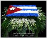 Casket Spray, Cuban Flag, carnations, white dendroniums, Funeral Flowers, Sympathy Flowers, Funeral Flower Arrangements from San Francisco Funeral Flowers.com Search for sympathy and funeral flower arrangement ideas from our SanFranciscoFuneralFlowers.com website. Our funeral and sympathy arrangements include crosses, casket covers, hearts, wreaths on wood easels. Open 365 days and provide delivery everyday including Sunday delivery to funeral homes from San Francisco CA to San Mateo CA. San Francisco Flowers