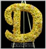 Custom Floral Letter D Spray, Funeral Flowers, Sympathy Flowers, Funeral Flower Arrangements from San Francisco Funeral Flowers.com Search for sympathy and funeral flower arrangement ideas from our SanFranciscoFuneralFlowers.com website. Our funeral and sympathy arrangements include crosses, casket covers, hearts, wreaths on wood easels. Open 365 days and provide delivery everyday including Sunday delivery to funeral homes from San Francisco CA to San Mateo CA. San Francisco Flowers