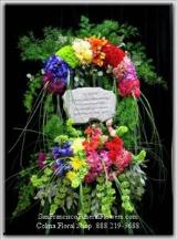 Custom Rainbow Flowers Floral Spray, Funeral Flowers, Sympathy Flowers, Funeral Flower Arrangements from San Francisco Funeral Flowers.com Search for sympathy and funeral flower arrangement ideas from our SanFranciscoFuneralFlowers.com website. Our funeral and sympathy arrangements include crosses, casket covers, hearts, wreaths on wood easels. Open 365 days and provide delivery everyday including Sunday delivery to funeral homes from San Francisco CA to San Mateo CA. San Francisco Flowers