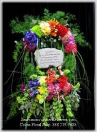 Custom Rainbow Flowers Floral Spray, Funeral Flowers, Sympathy Flowers, Funeral Flower Arrangements from San Francisco Funeral Flowers.com Search for chinese funeral, sympathy funeral flower arrangements from our SanFranciscoFuneralFlowers.com website. Our funeral and sympathy arrangements include crosses, casket covers, hearts, wreaths on wood easels, coronas fúnebres, arreglos fúnebres, cruces para velorio, coronas para difunto, arreglos fúnebres, Florerias, Floreria, arreglos florales, corona funebre, coronas