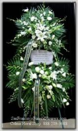 Custom White Floral Garden Funeral Flowers, Sympathy Flowers, Funeral Flower Arrangements from San Francisco Funeral Flowers.com Search for sympathy and funeral flower arrangement ideas from our SanFranciscoFuneralFlowers.com website. Our funeral and sympathy arrangements include crosses, casket covers, hearts, wreaths on wood easels. Open 365 days and provide delivery everyday including Sunday delivery to funeral homes from San Francisco CA to San Mateo CA. San Francisco Flowers