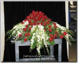 Casket Spray with South American Roses and White Dendroniums, Funeral Flowers, Sympathy Flowers, Funeral Flower Arrangements from San Francisco Funeral Flowers.com Search for sympathy and funeral flower arrangement ideas from our SanFranciscoFuneralFlowers.com website. Our funeral and sympathy arrangements include crosses, casket covers, hearts, wreaths on wood easels. Open 365 days and provide delivery everyday including Sunday delivery to funeral homes from San Francisco CA to San Mateo CA. San Francisco Flowers